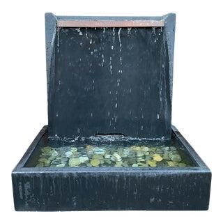 Modern Slate Grey Cement Wall Fountain For Sale