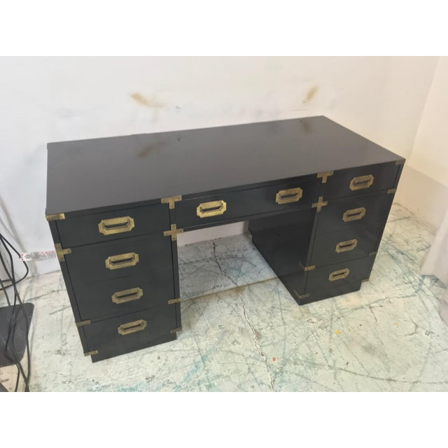 Lacquered Campaign Style Desk - Image 5 of 6