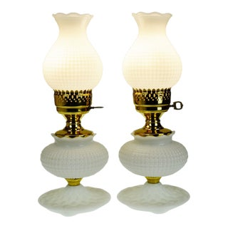 Vintage Quilted Milk Glass Table Lamps - a Pair For Sale