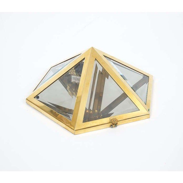 Josef Hoffmann Set of 12 Brass and Glass Pyramid Flush Mounts Wall Lamp,Originally designed in 1903, this light was...