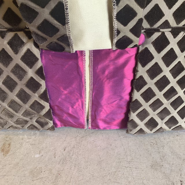 2010s Chocolate Laser Cut Velvet and Pink Satin Ottoman For Sale - Image 5 of 11