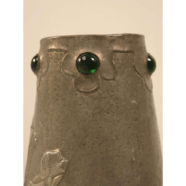 Signed French Art Nouveau Metal Vase For Sale - Image 4 of 10