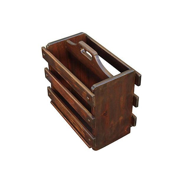 Country Rustic Wooden Panel Magazine Rack For Sale - Image 3 of 4