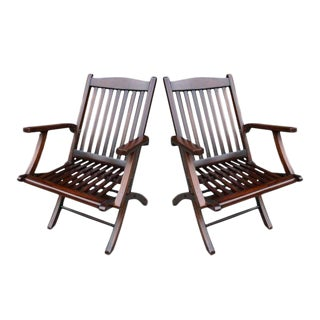 1960s Steamship Folding Chairs- A Pair For Sale
