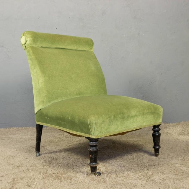 Napoleon III Slipper Chair in Green Velvet - Image 2 of 10