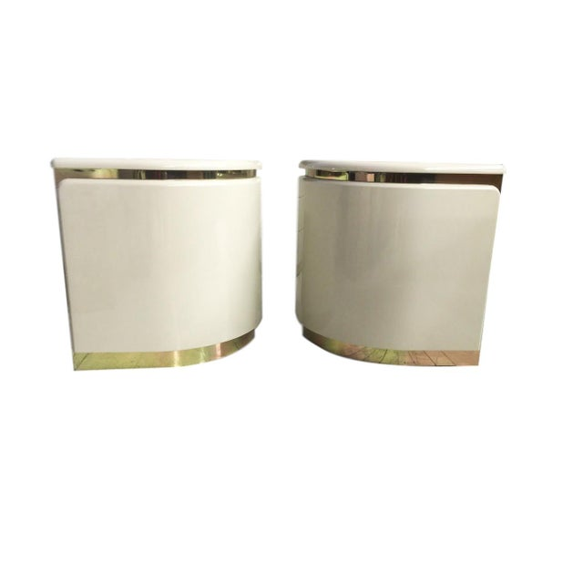 1960s White Italian Nightstands - A Pair - Image 1 of 3