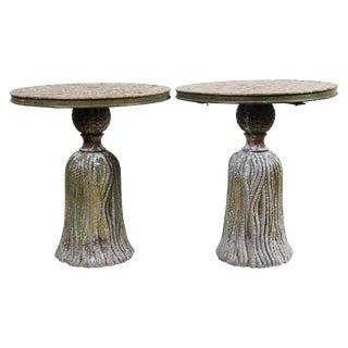 Pair of Ceramic Mosaic Tile Top Tassel Tables For Sale