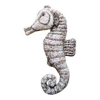 Monumental Seashell Covered Sea Horse Coastal Nautical Wall Decor For Sale