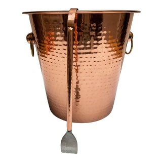Vintage Copper Ice Bucket With Tongs For Sale