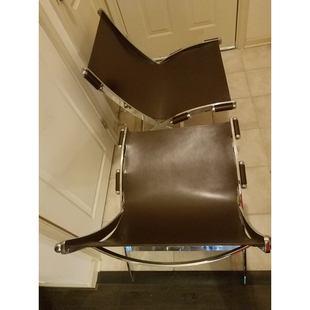 Mid-Century Modern Style Leather Sling & Chrome Chairs - a Pair For Sale - Image 9 of 10