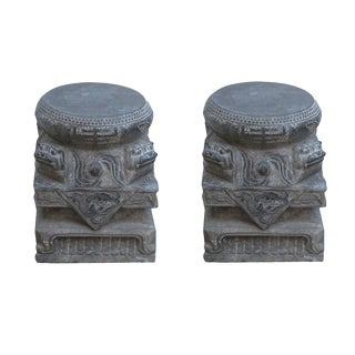 Pair Chinese Foo Dog Carving Stone Base Garden Stool Tables For Sale