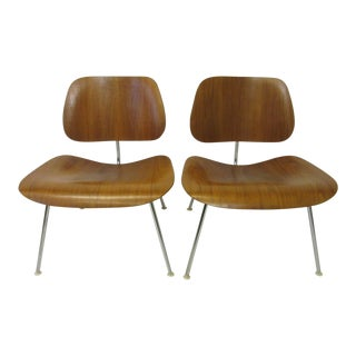 Eames LCW Walnut Plywood Chairs by Herman Miller - a Pair For Sale