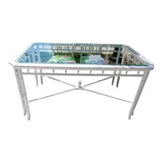 Palm Beach Regency Faux Bamboo Wood Rectangular White Glass Dining Room Table For Sale