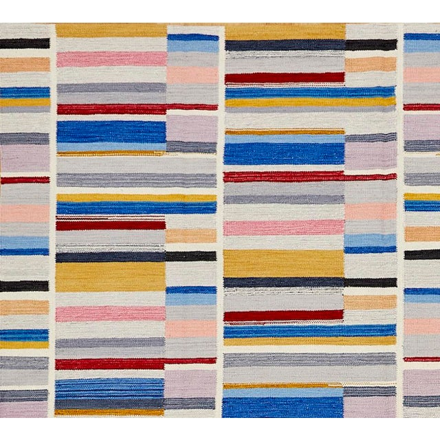 Contemporary Schumacher Patterson Flynn Martin Stella Hand Woven Wool Striped Rug For Sale - Image 3 of 5