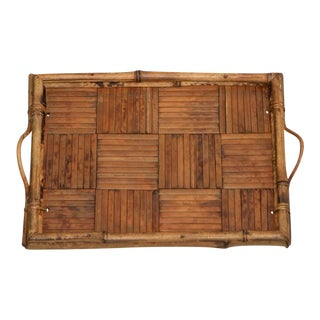 Mid Century Vintage Small Bamboo Tray with Parquet Design For Sale
