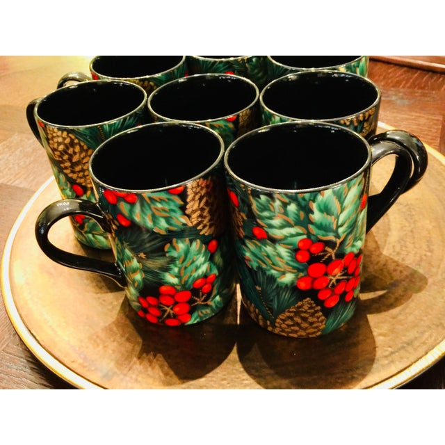 Fitz & Floyd Holiday Pine Set of 8 Fine Porcelain Rare Black Pattern.