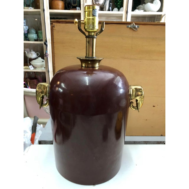 Brass Elephant Motif Enameled Lamp For Sale In Miami - Image 6 of 6