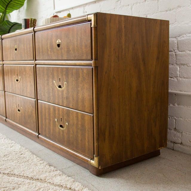 Drexel Heritage Vintage Campaign Nine Drawer Dresser by Drexel For Sale - Image 4 of 13