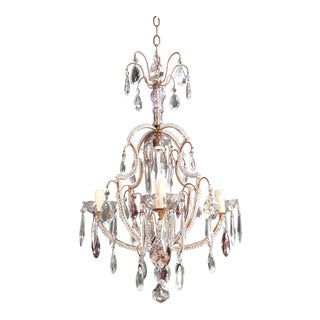 Fine Beaded Cage Purple Crystal Chandelier Antique Ceiling Lamp Lustre Art Deco For Sale