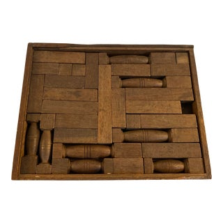 19th Century Antique Wooden Building Blocks Game Pieces For Sale