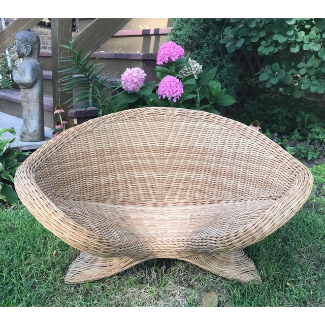 Tan 1970s Boho Chic Wicker Meditation Chair For Sale - Image 8 of 9
