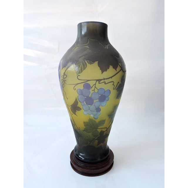 Mid 20th Century 'Galle' Style Vine & Grape Glass French Vase For Sale - Image 5 of 6