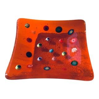 1960s Millefiori Italian Mid-Century Modern Orange Murano Art Glass Trinket Tray Dish For Sale