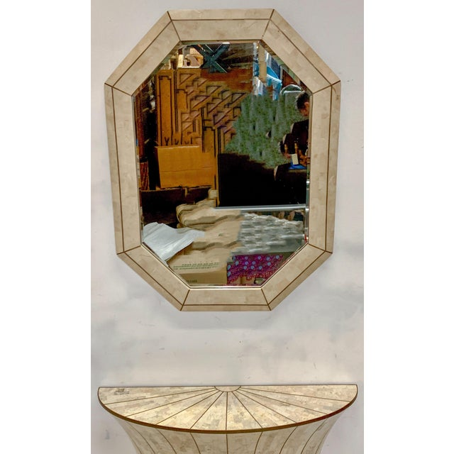 Mid-Century Modern Maitland-Smith Tasselated Console and Mirror For Sale - Image 3 of 9