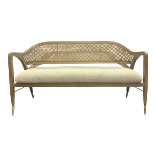 Caracole Modern Settle in Caned Settee For Sale