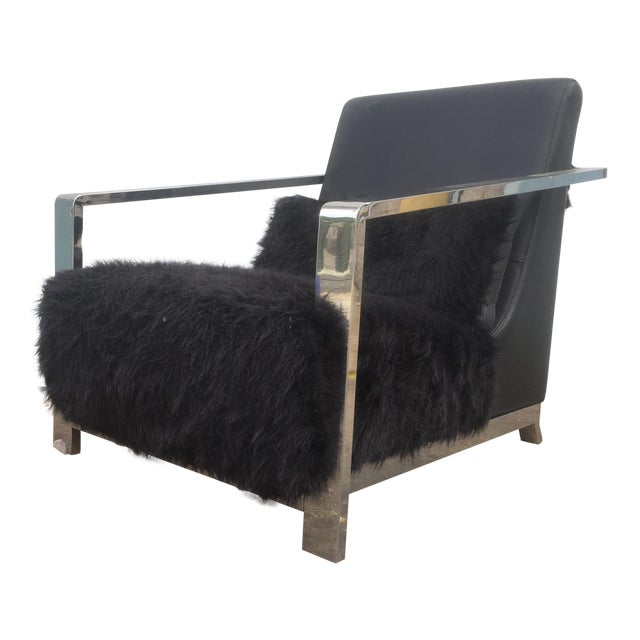Faux Fur Leather & Chrome Lounge Chair For Sale