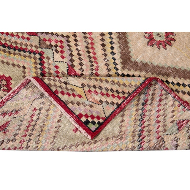 Traditional Vintage Turkish Scatter Wool Rug 4 X 7 For Sale - Image 3 of 13