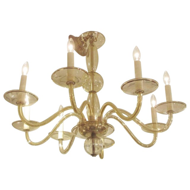 Eight Arms Amber-Colored Murano Glass Chandelier For Sale