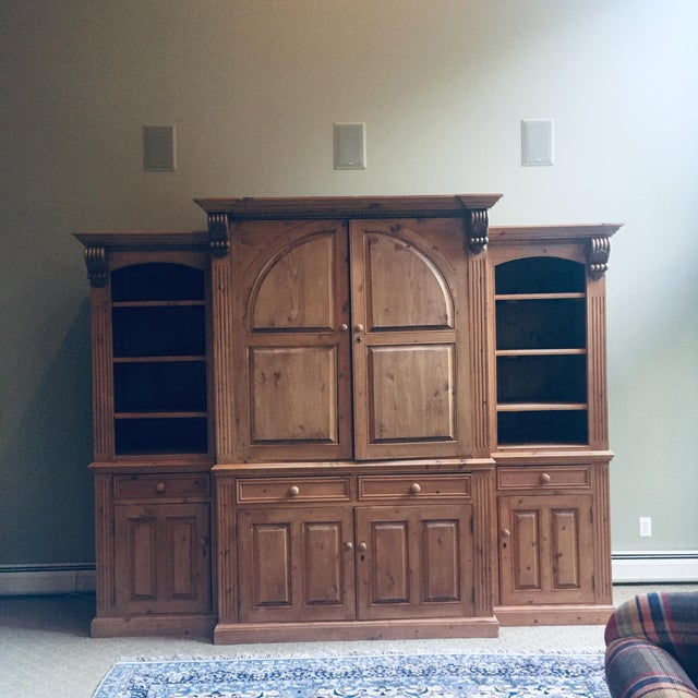Vintage Hand Carved 3 Piece Pine Library Wall Unit For Sale In New York - Image 6 of 6