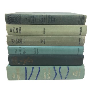 Antique Turquoise Books - Set of 6 For Sale