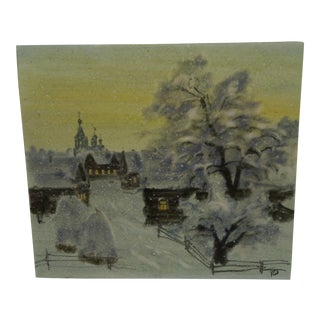 "R. Hopisu ""Wintery Town"" Original Painting on Paper"