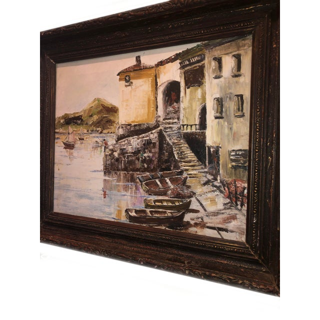 French Nautical Painting of French Seaside Fishing Village For Sale - Image 3 of 9