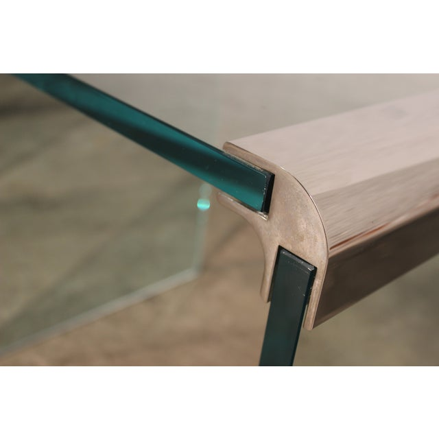 Pace Chrome & Glass Waterfall Side Tables - Pair - Image 3 of 10