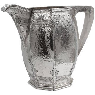 1940s Traditional Sterling Silver Hammered Water Pitcher For Sale