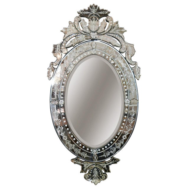 Venetian Etched Glass Wall Mirror, Circa 1940 For Sale