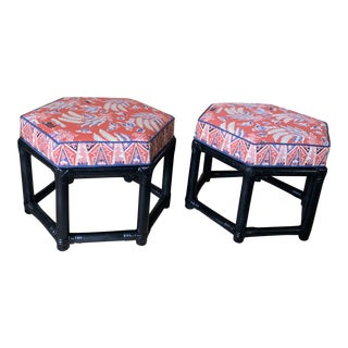 1960s Willow & Reed Chinoiserie Rattan Octagonal Ottomans- a Pair For Sale