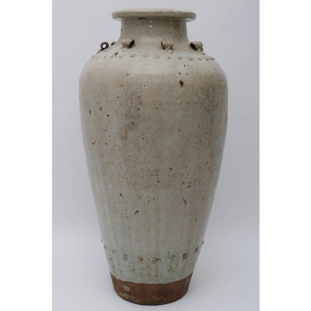 Asian Large Scale Thai Glazed Earthen Ware Urn Putty Colored For Sale - Image 3 of 11