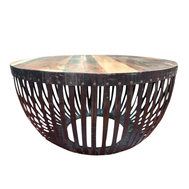 Round iron reclaimed wood coffee table chairish for Buy reclaimed wood los angeles