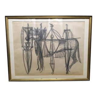 Abstract Charcoal on Paper Drawing by Robert George Gilberg