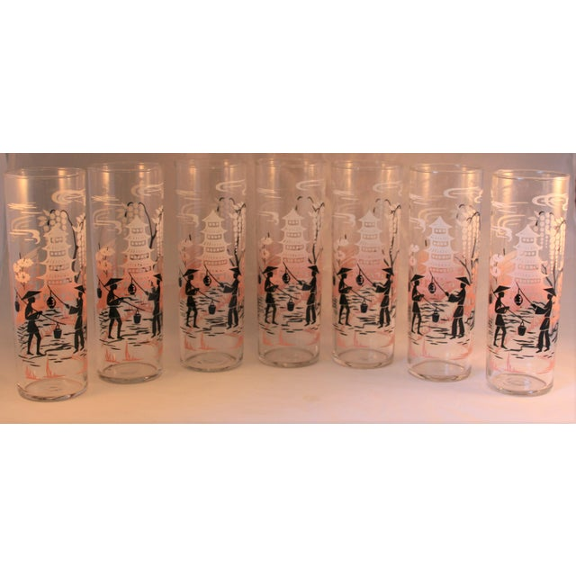 Vintage Libbey Asian Design HighBall Cocktail Glasses - Set of 7 For Sale In West Palm - Image 6 of 7