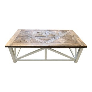 Restoration Hardware Reclaimed Russian Oak Parquet Coffee Table For Sale