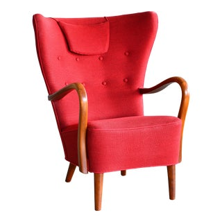 Danish 1940s Alfred Christensen Easy Chair With Open Elmwood Armrests For Sale