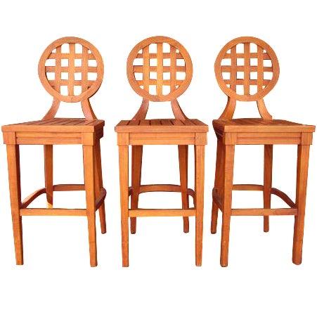 McGuire Orlando Diaz-Azcuy Portico Solid Teak Barstools - Set of 3 - Image 1 of 9