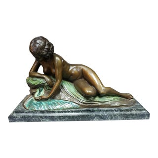 1920 French Art Deco Nude Woman Atop Rock Bronze Sculpture on Marble Base Signed Philippe For Sale