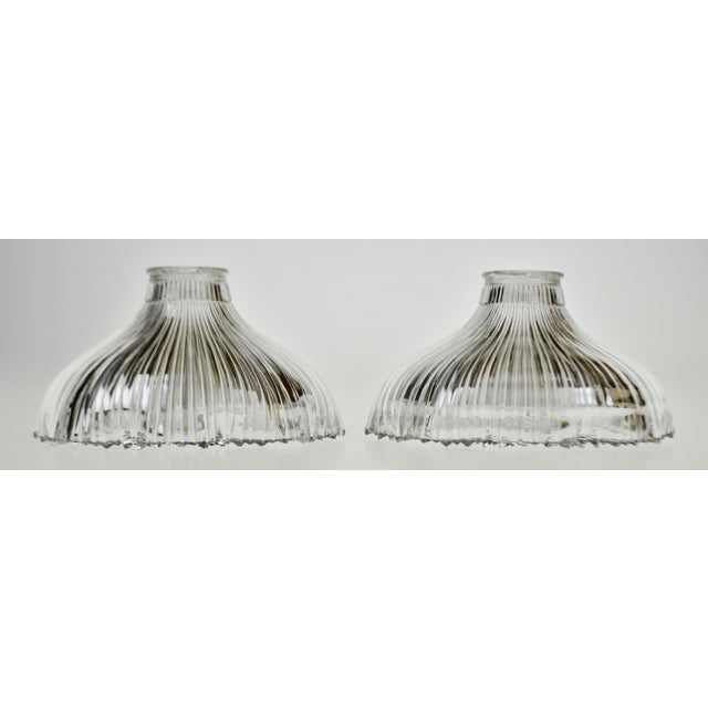 Art Nouveau 1905 Franklin Ribbed Glass Light Shades - a Pair For Sale - Image 12 of 12