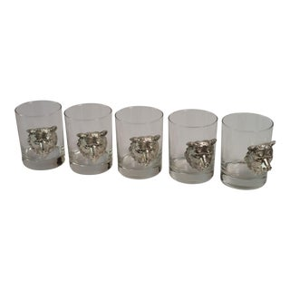 Arthur Court Bear Emblem Lowball Dof Glasses - Set of 5 For Sale